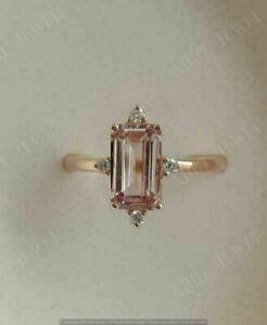 2Ct Emerald Cut Morganite Diamond Solitaire Engagement Ring 14K Rose Gold Finish