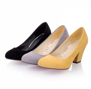 Classic Office Ladies Faux Suede Pumps Womens Chunky Kitten Heels Shoes Chic Hot