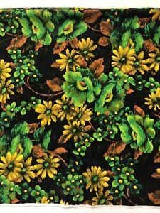 Vtg Floral Barkcloth Fabric 3 Yards x 44 Mid Century Hawaiian Flowers 60s 70s