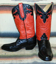 Womens Donna Jean Handmade Black Red Full Quill Ostrich Cowboy Boots 6.5 B Exc C