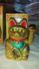 2 Gold rough Colour Chinese Lucky cats new  12.5 cm high