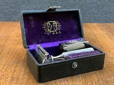 Vintage Gem Cutlery Co Damaskeene Safety Razor w/ Wood Case & Blades Case