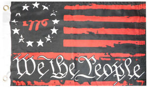 """1776 Patriot Red We The People Betsy Ross 100D 12""""x18"""" Poly Nylon Car Boat Flag"""
