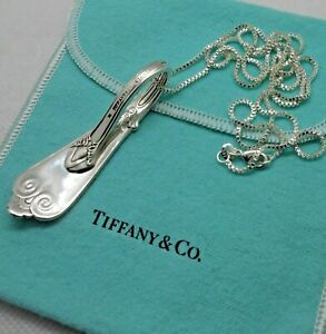 Antique 1869 Sterling Silver TIFFANY & CO Beekman Spoon Necklace Pendant & pouch