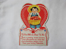 OLD VALENTINE BOY WITH BUSHEL BASKET OF HEARTS  STAND UP POP OUT CARD    T*