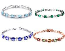 "8"" Genuine Emerald Sapphire Oval CZ Accent Infinity Bracelet in Brass Gift G16"