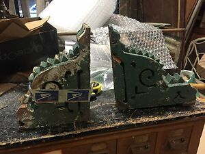 "PAIR c1878 VICTORIAN gingerbread CORBEL brackets 13"" X 12.5"" & 13"" X 10"" - AS IS"