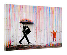 BANKSY STYLE COLORFUL RAIN PRINT ON FRAMED CANVAS WALL ART HOME DECORATION