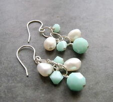 WHITE  PEARL AND MINT GREEN CRYSTAL DANGLE STERLING SILVER EARRINGS