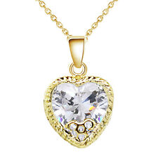 Luxury Yellow Gold White Cubic Zircon Romantic Love Heart Pendant Necklace N360