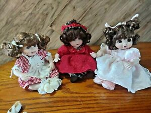 """Lot of 3 Marie Osmond Dolls Tiny Tots dolls 6"""" seated all porcelain"""