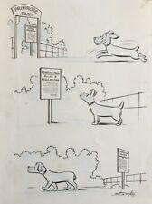 Leslie Starke New Yorker artist Original Cartoon Dog published in Lilliput PROV