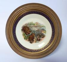 LENOX Boehm Woodland Wildlife Beavers 1977 Framed Porcelain Plate Ltd Issue