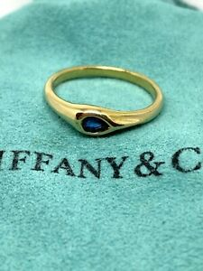 TIFFANY & CO. Blue Pear Shape Sapphire 18k Yellow Gold Authentic