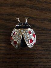 Vintage Brooch Pin - Enamel Crystal signed Roman Ladybug