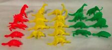 (22) Green Yellow Red Plastic Dinosaur Figures - Solid Colors Vintage Lot
