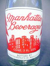 vintage ACL Soda Bottle:  MANHATTAN of WOONSOCKET, R.I.  - 7 oz  ACL POP BOTTLE