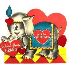 Vtg Valentines Day Card 40s 50s Flocked Elephant Circus Ephemera Big Top Animal