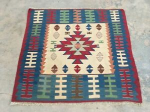 6262 Turkish kilim Vintage kilim rug, hand knotted kilim carpets Flatweave  3x3