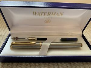 Boxed vintage waterman fountain pen Brushed Steel And Gold/brass With Cartridges
