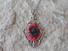BLACK ROSE ON RED CAMEO PENDANT NECKLACE -  GOTH, WICCA, WITCH, HALLOWEEN