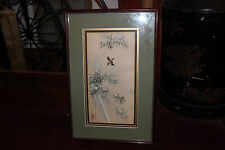 Stunning Chinese Japanese Painting Drawing Bird In Flight Bamboo Trees-Stamped