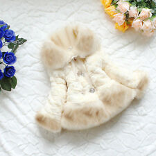Baby Kid Girl Winter Warm Fur Thick Princess Coat Jacket Outerwear Parka Clothes White T-shirt 3-4 Years