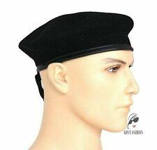 100% Lana Boina Militar Táctico Estilo Ejército Negro Clásico Sombrero Para Hombre Gorra De Patrulla