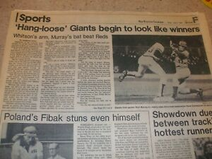 San Francisco Examiner 7/3/80 Sports Front Page - Giants Beat Cincinnati Reds
