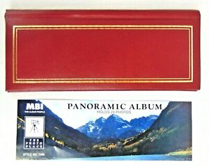 Photo Album Panoramic 24 Picture Slot Holder Leather Gold Gilt Bi-Directional
