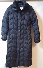 Black Long Quilted Puffer Parka Coat Sz Small Hood Feather Fill  Zip Pockets