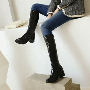 Ladies Casual Patent Leather Knee High Seat Heel Autumn Knight Boots Shoes Boots