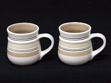 Set of Two (2) Pfaltzgraff Latte Stripe Pattern Coffee Cup Mugs Cream & Brown