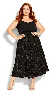CITY CHIC - Size M (18-20) black 'Prism Spot Skirt' pleated tea length plus size