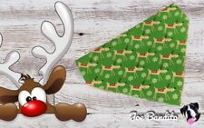 Handmade Xmas Green Reindeer Christmas Dog Bandana Slip On Collar Large