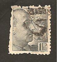 "Timbre 1939 ESPAGNE Yvert N°672: obl. (o) 1 peseta ""Franco"" Variété de dentelure"