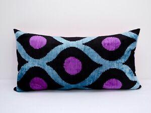 Pink dot Silk Velvet ikat pillow cushion home decorative ikat sofa lumbar ikat