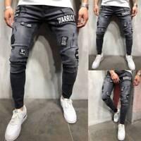 Fashion Men's Ripped Skinny Biker Jeans Slim Fit Denim Destroyed Frayed Pants