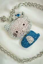 Large blue diamante Hello Kitty necklace /pendant