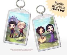 Bbc Merlin and Arthur Anime Chibi Art Keychain
