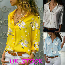 Women Button Floral Loose Tee Shirts Tops Ladies Long Sleeve Casual Blouse Plus