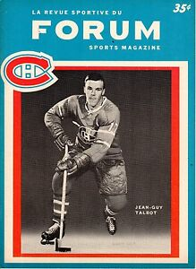 1964 10/21 Hockey Program Chicago Blackhawks Montreal Canadiens, Jean-Guy Talbot
