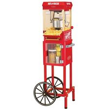Vintage Full-Size Popcorn Cart Machine, Red Retro Electric Pop Corn Kettle Cart