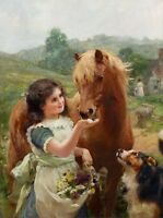 Oil Alfred William Strutt - A sweet tooth nice young girl feeding horse & dog