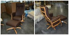 Ercol Gina Recliner & Footstool in Light & Brown   Leather L501 BRAND NEW