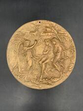 Ancienne plaque en bronze Adam & Eve Paradis perdu Lost Paradise Milton