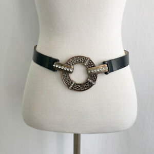 Chicos Black Leather Silver Rhinestone Boho Metal Circle Hook Womens Belt Small