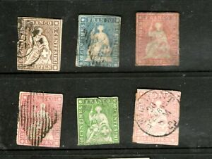 EARLY SWISS 1854-1862 (6 STAMPS IMPERFORATED) USED-HINGED/ CV $1000++++