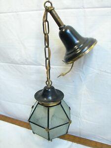 Vintage Leaded Glass Type Chandelier Porch Lamp Light Hanging Hexagonal Ball