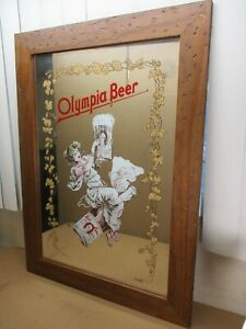 Vintage OLYMPIA BEER with the CLASSIC GIRL Wall Mirror Capitol Brewing   22 x 30